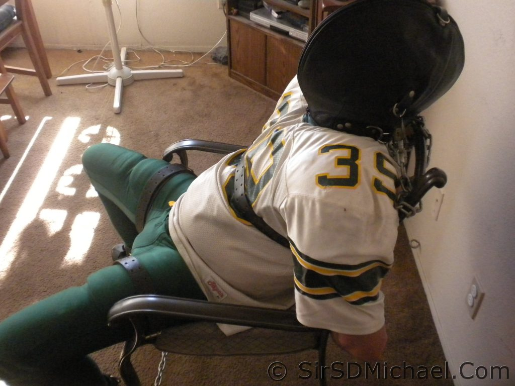 Chair Bound in Football Gear