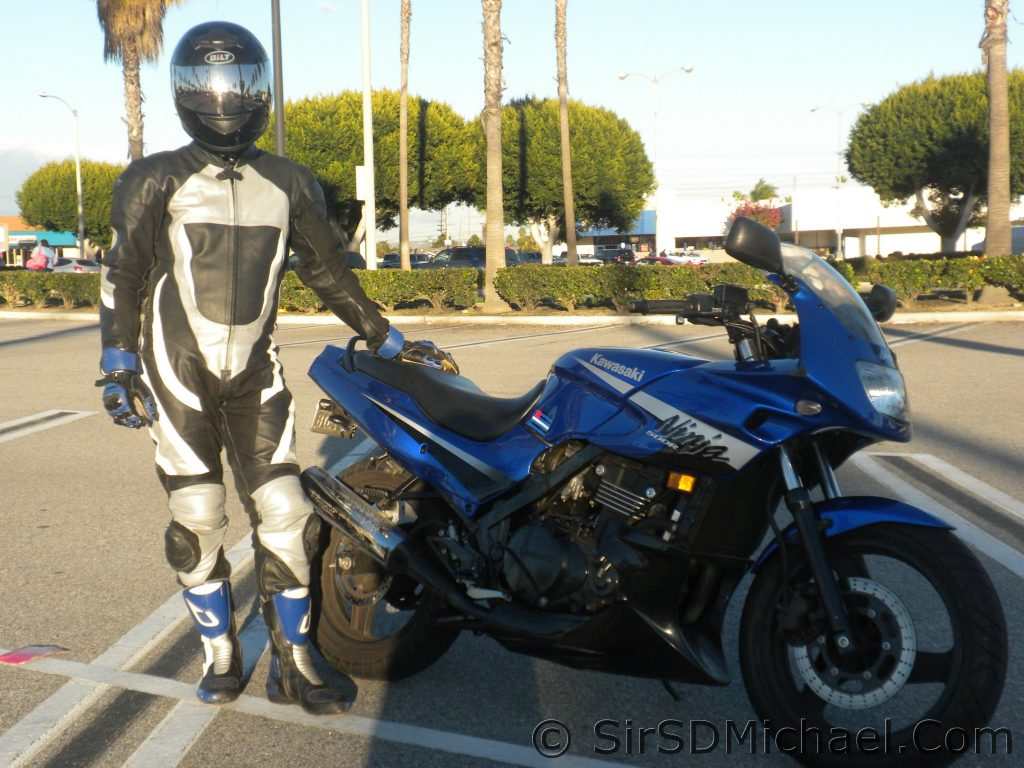 What I look like off the bike. The leathers make me more anonymous.