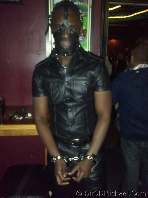 Hot bound leather boy at Pecs.