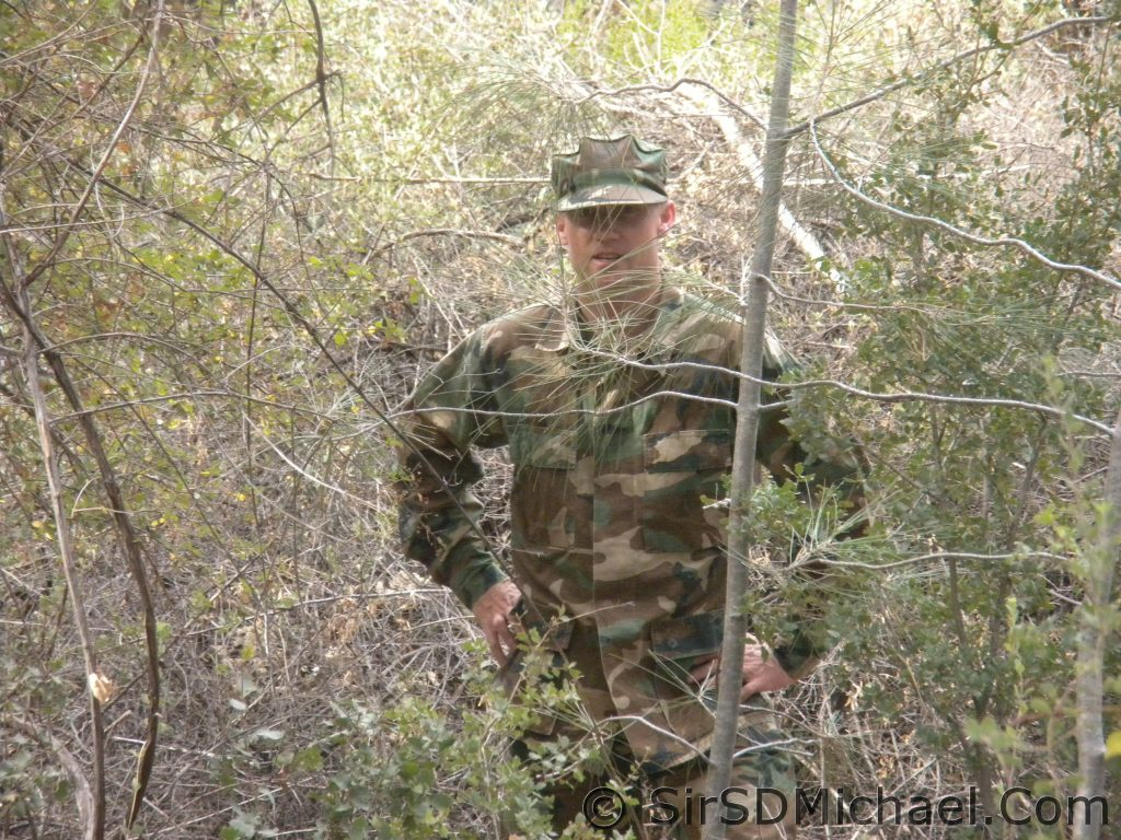 BDU's in the woods. Not well hidden, but it is a start.