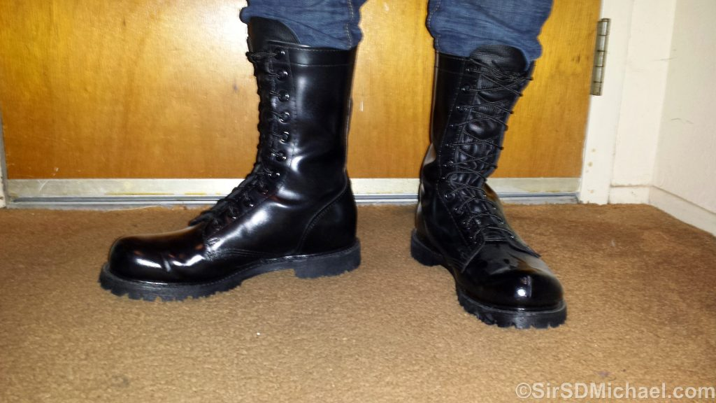Pup Sparky's new Corcoran boots