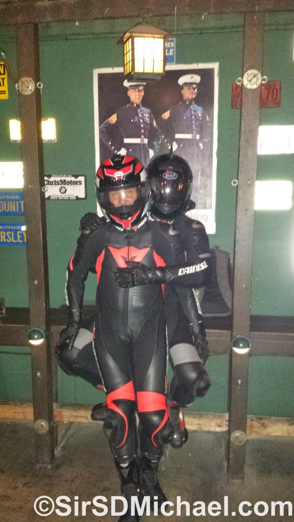 Out with my boy in our leathers.