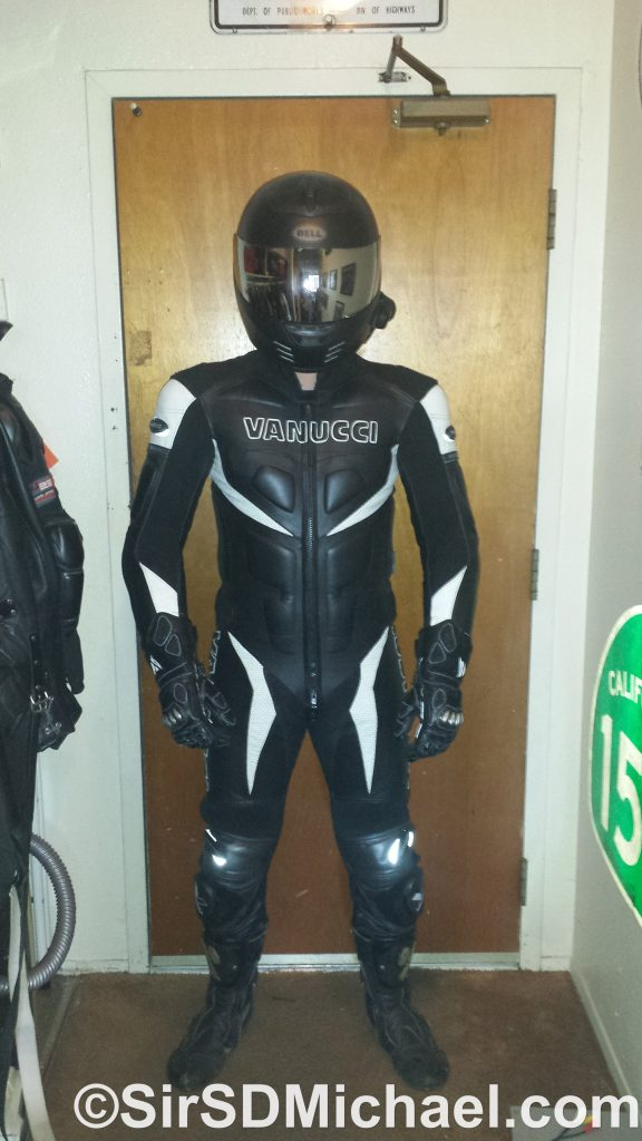 Pup Sparky in his modified Vanucci leathers.